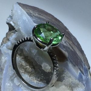 Simulated Emerald, Simulated White Diamond Ring